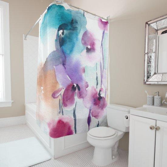 Vintage Watercolor Floral Print Shower Curtain