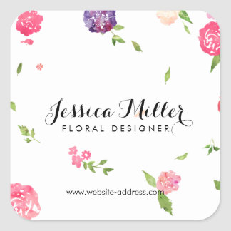Vintage Watercolor Florals Craft Designer II Square Sticker