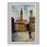 Vintage watercolor Florence Campanile Post Card
