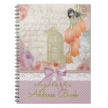 Vintage Watercolor Flowers and Bird Address Book   Spiral Notebook