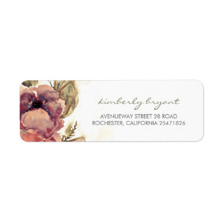 Vintage Watercolor Flowers Beautiful Wedding Label