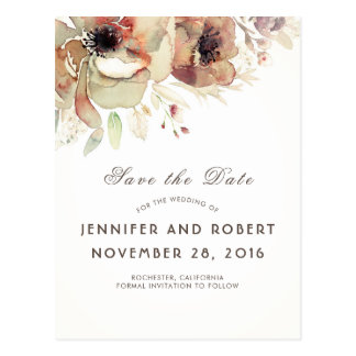 Vintage Watercolor Flowers Fall Save the Date Postcard