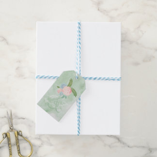 Vintage Watercolor Flowers, Mint Green Theme Gift Tags
