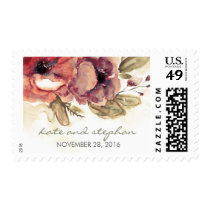 vintage watercolor flowers wedding postage
