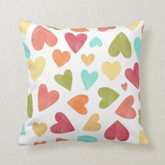 Vintage Watercolor Hearts Valentine Throw Pillow