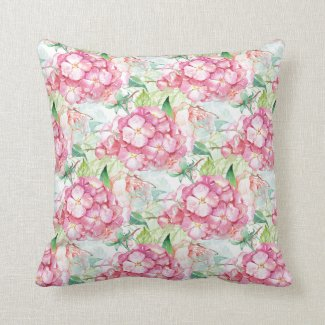 Vintage Watercolor Hydrangea and Rose Pattern Throw Pillow