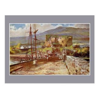 Vintage watercolor King John's Castle Carlingford Postcard