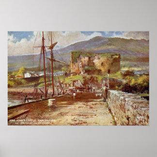 Vintage watercolor King John's Castle Carlingford Poster