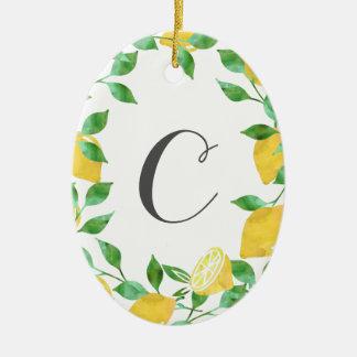 Vintage Watercolor Lemon Initial Ornament