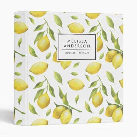 Vintage Watercolor Lemons and Greenery Pattern 3 Ring Binder