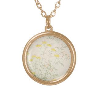 Vintage Watercolor Love Round Pendant Necklace