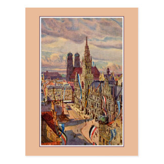 Vintage watercolor Munich Marienplatz Postcard