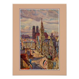 Vintage watercolor Munich Marienplatz Poster