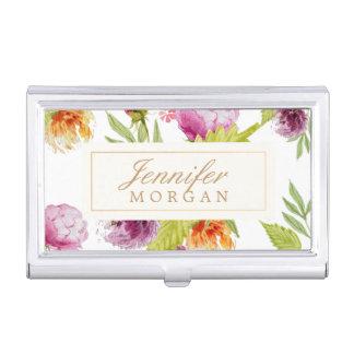 Vintage Watercolor Painted Flowers Monogram Name Business Card Holder