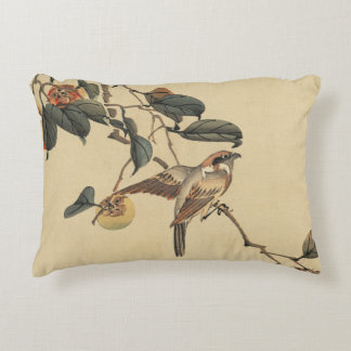 vintage,watercolor painting, bird on tree accent pillow