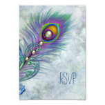 "Vintage Watercolor Peacock RSVP 3.5"" X 5"" Invitation Card"