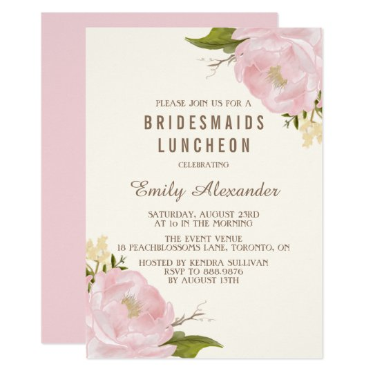 vintage watercolor peonies bridesmaids luncheon invitation zazzle com