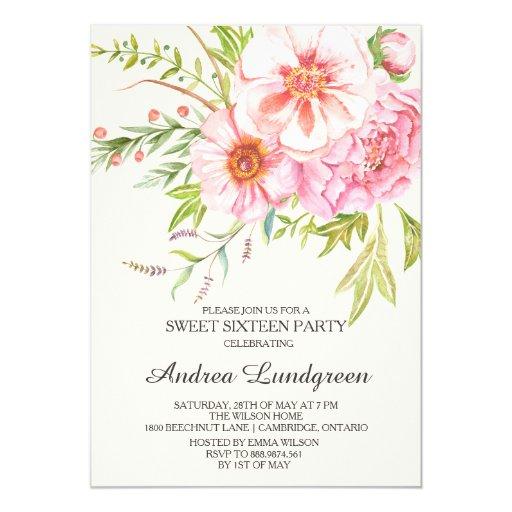 Vintage Watercolor Peonies Sweet Sixteen Invite
