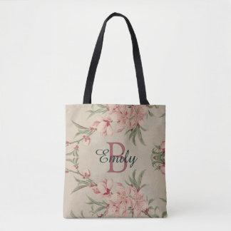 Vintage Watercolor Pink Floral Tote Bag