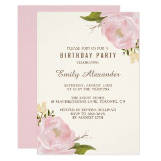 Vintage Watercolor Pink Peonies Birthday Party Card
