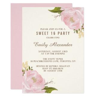 Vintage Watercolor Pink Peonies Sweet Sixteen Card