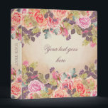 """Vintage Watercolor Roses Binder<br><div class=""""desc"""">Personalized romantic binder with watercolor roses.</div>"""