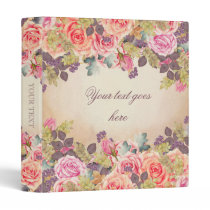 Vintage Watercolor Roses Binder