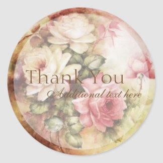 Vintage Watercolor Roses Victorian Flowers Floral Classic Round Sticker