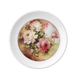 Vintage Watercolor Roses Victorian Flowers Floral Dinner Plate