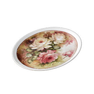 Vintage Watercolor Roses Victorian Flowers Floral Plate