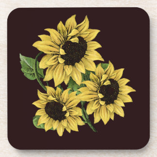 Vintage Watercolor Sunflower Design Coaster