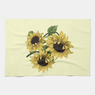 Vintage Watercolor Sunflower Design Kitchen Towel