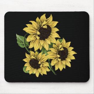 Vintage Watercolor Sunflower Design Mouse Pad