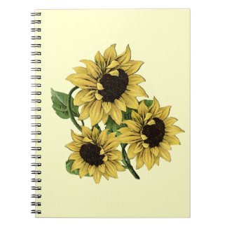 Vintage Watercolor Sunflower Design Notebook