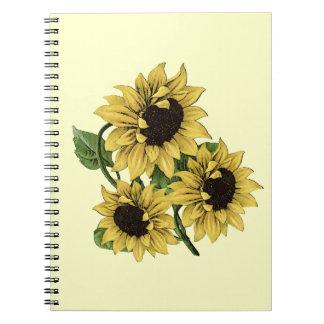 Vintage Watercolor Sunflower Design Notebook