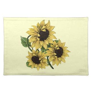 Vintage Watercolor Sunflower Design Placemat