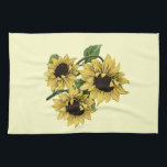 """Vintage Watercolor Sunflower Design Towel<br><div class=""""desc"""">This reworked image started out as vintage clip art. I fixed the choppy mottling,  did some recoloring,  some copy and pasting to add extra flowers in then turned it into a watercolor sketch. My goal was to end up with a unique image that still has vintage appeal.</div>"""