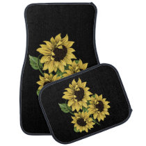 Vintage Watercolor Sunflowers Auto Floor Mats