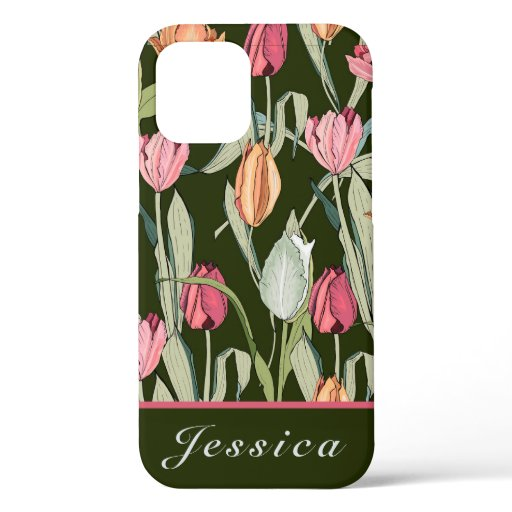 Vintage Watercolor Tulips Floral Pattern  iPhone 12 Pro Case