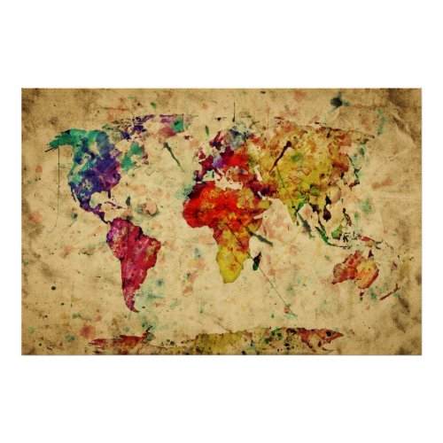 Vintage Watercolor World Map Poster