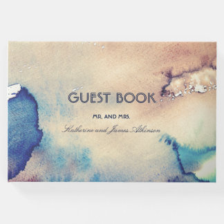 Vintage Watercolors Beach Wedding Guest Book