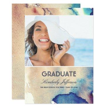 Beach Themed Vintage Watercolors Photo Graduation Card