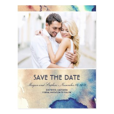 Beach Themed Vintage Watercolors Photo Save The Date Postcard