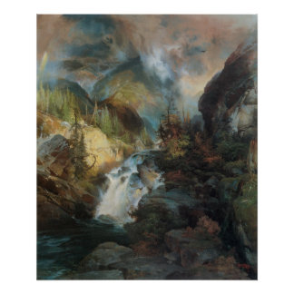 Vintage Waterfall in Mountains Landscape by Moran Posters