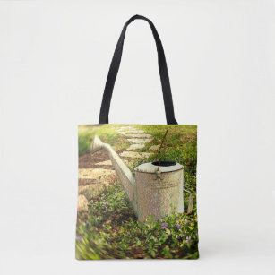 Vintage Watering Can In A Patch Of Vinca Tote Bag