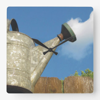 Vintage Watering Can Pouring A Cloud Square Wall Clock