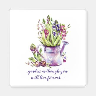 Vintage Watering Can Purple and Pink Hyacinths Coaster Set