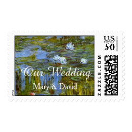 Vintage waterlily oil painting wedding stamps