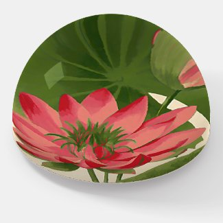 vintage waterlily -painting paperweight