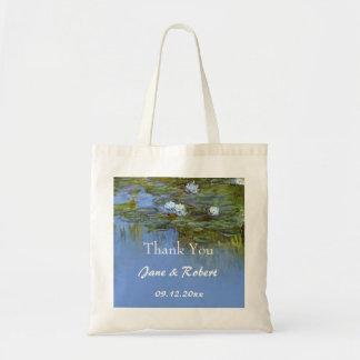 vintage waterlily wedding favor thank you tote bag